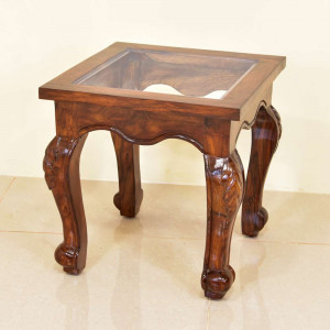 Solid Wooden Carbin Glass Top Peg Table