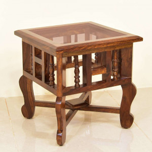 Gibson Solid wood Glass Top Peg Table