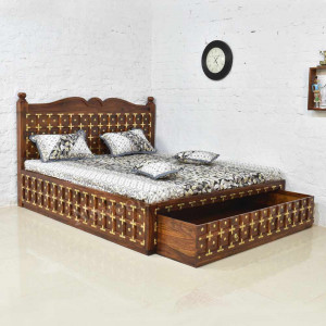 Solid Wood Brass Bed with Front Trolley