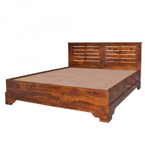 Solid Wood Tepper Patti Bed Without Storage