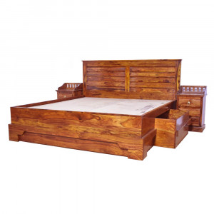 Solid Wood Traditional Storage Bed Design