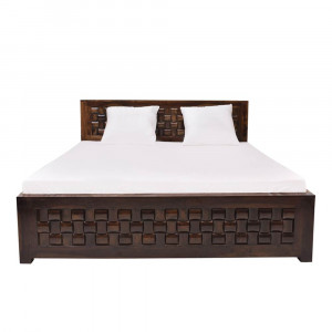 Solid Wood Sheesham Niwar Patti Bed Without Storage