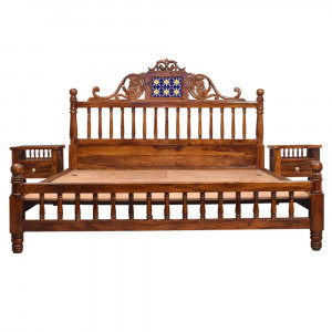 Solid Wood Carving Bed Without Storage