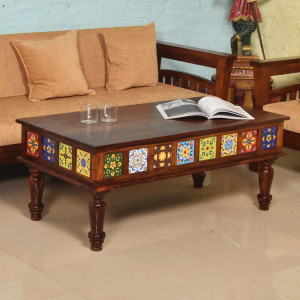 Solid Wooden Tiles Center Table