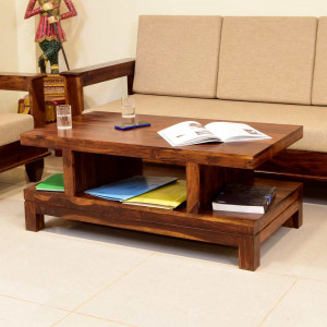 Solid Sheesham Wooden Double Top Center Table