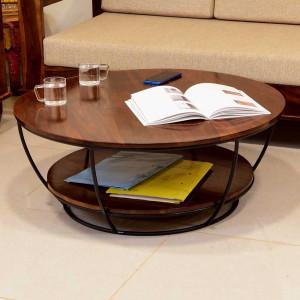 Cherrie Round Double Top Metal Leg Coffee Table