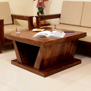 Hazel Solid Wood Double Top Center Table