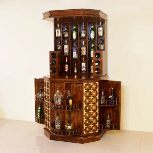 Solid Wood Brass Bar Cabinet