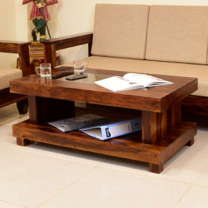 Center Table Double Top With Glass