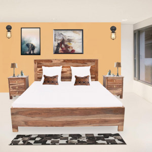 Solid Wood Traditional Design  Bed With Storage