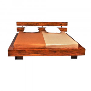Solid Wood Slatted Bed Without Storage