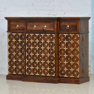 Wooden Bar Cabinet with Brass Design