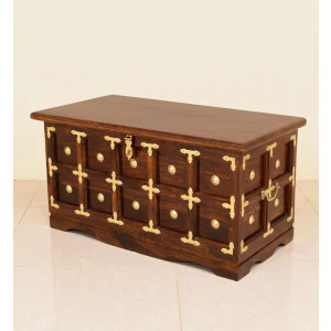 Solid Wooden Boho Trunk Brass Gall and Box