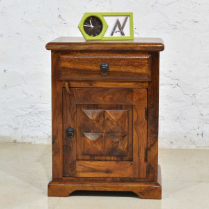Solid Sheesham Wood Diamond Bedside Table