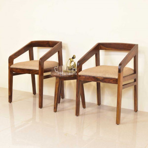 Easy Aarm Chairs Made of Solid Sheesham Wood