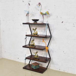 Solid Wood Iron Sheesham Book Shelf