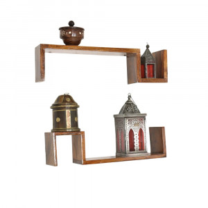 Solid Wood U Shape Wall Shelf Set of Two