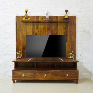 SOLID SHEESHAM WOOD TV & LED STAND CUM SHELF
