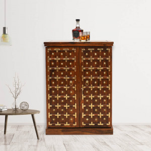 Solid Sheesham Wood Brass Design Regular Bar