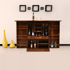 Solid Wood Brass Design Bar Cabinet