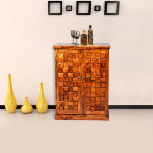 Solid Wood Niwar Patti Design Bar Cabinet