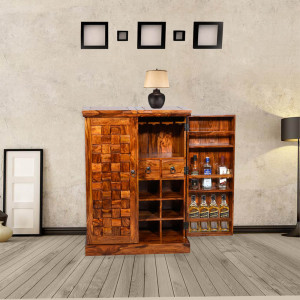 Wooden Traditional Niwar Patti Design Bar Cabinet