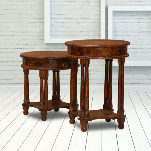 Solid Wood Round 2 Set Side Table and Peg Table