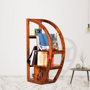 Wooden Half Moon Bookshelf