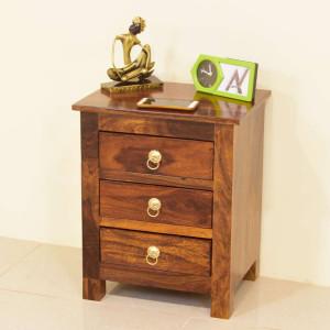 Solid Wooden 3 Drawars Bedside Table