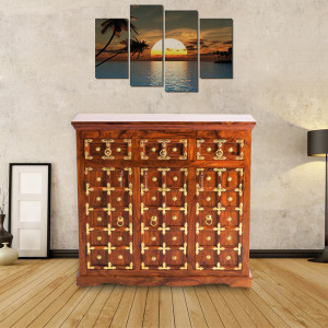 Solid Wood Brass Sideboard