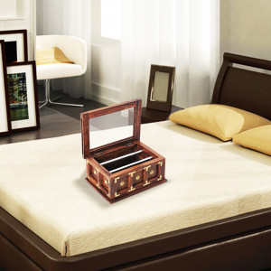 Solid Wood Top Glass Bangle Box