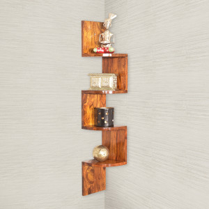 Zig-Zag 4 Tier Wooden Wall Shelf