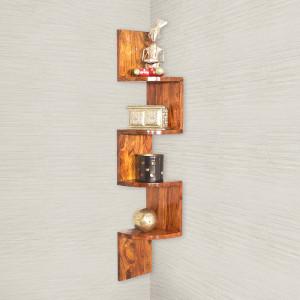 Zig-Zag 4 Tier Wooden Wall Shelf