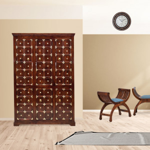 Solid Wood Rajathani Brass Wardrobe