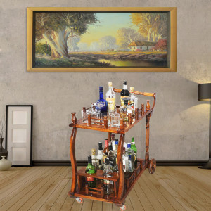 Solid Sheesham Wood Trolley/Bar