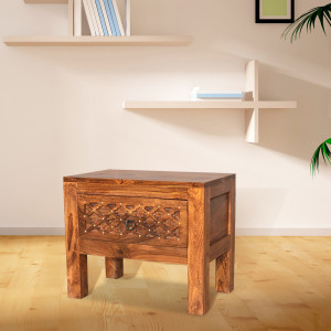 Solid Wood Brass Top Bed Side Table