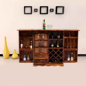 Wooden Bar Cabinet With Traditional Rajasthani Shekhawati Style Made With Solid Indian Sheesham Wood
