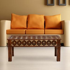 Shekhwati Style Brass Center Table Without Glass