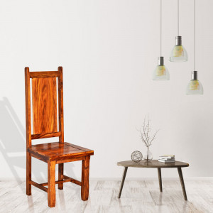 Long Back Solid Sheesham Wood Dining Chair