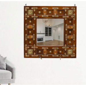 Solid Wood Brass Hanging Cap Mirror Frame