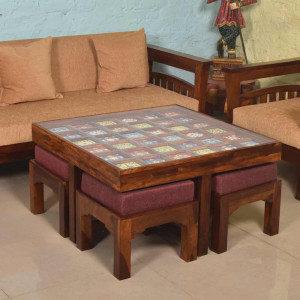 Solid Wooden Tiles Coffee Table