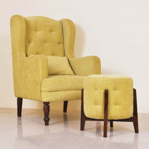 Solid Wood Crystal Wing Chair With Stool