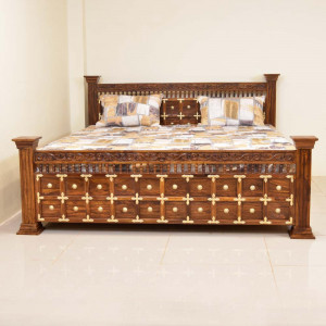 Solid Wooden Sheesham bed with Storage