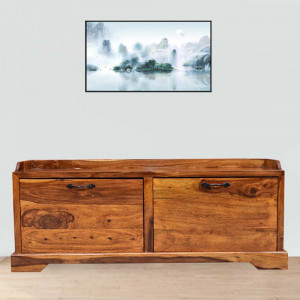 Sheesham Solid Wood Florito Carbing Footwear Table