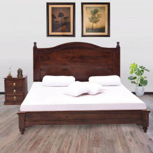 Solid Wooden Bed Without Storage