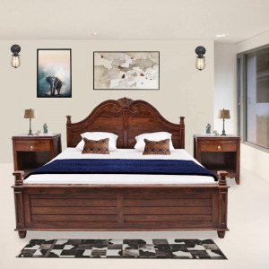Solid Wood Sheesham Vincent Bed With Carving Design