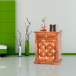 Solid Wood Brass Bedside Table