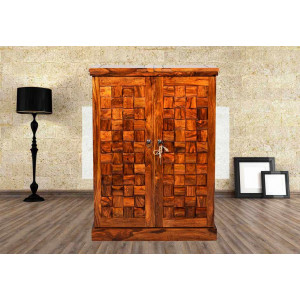 Wooden Bar Cabinet With Traditional Regular Niwar Patti Design