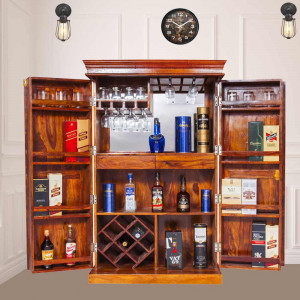 Solid Sheesham Wood Bar Cabinet