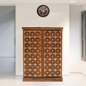 Sheesham Wood Regular Brass Design Bar Cabinet